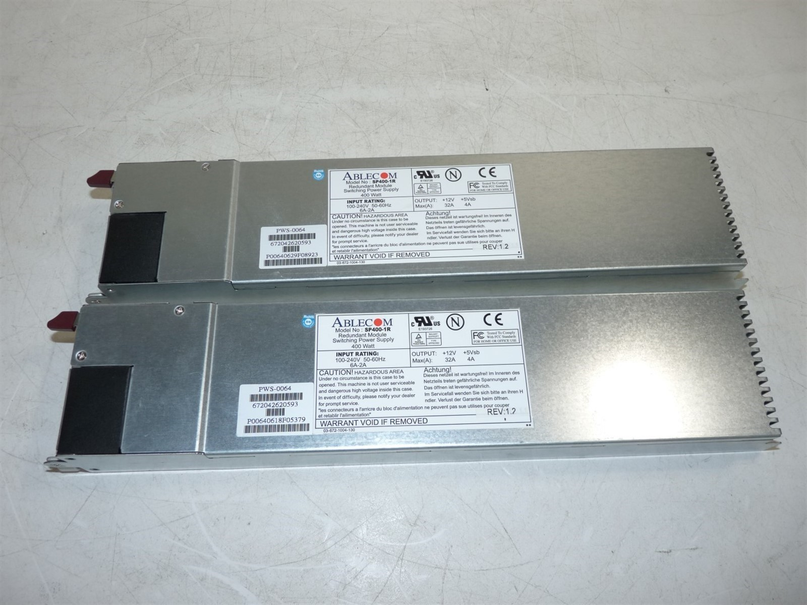 Lot Of 2 Ablecom Sp400 1r 400w Redundant Module Power Supply Watt Switching Untested As Is For Parts Or Not Working