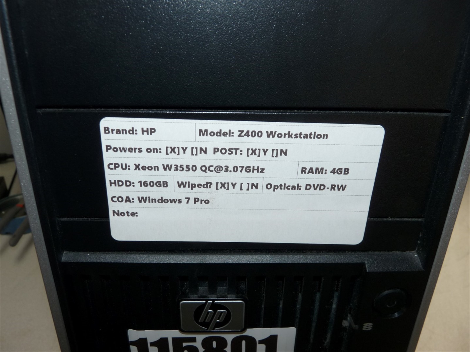 Details about HP Z400 Workstation PC Xeon Quad Core(W3550)3 07GHz 4GB  160GB-HD Boots