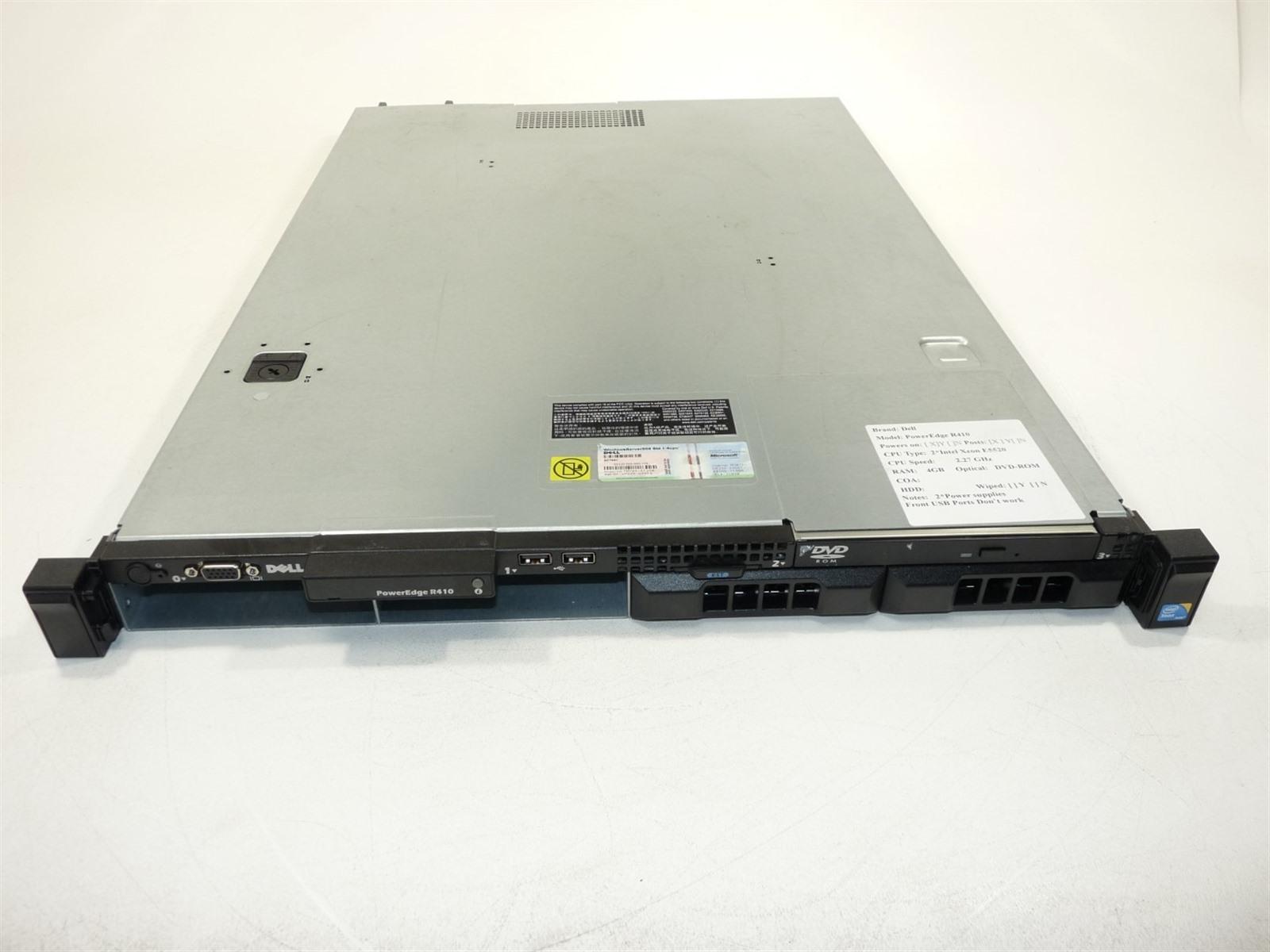 Dell PowerEdge R410 1U Server 2*Xeon(E5520)2 27GHz 4GB 0HD BAD USB