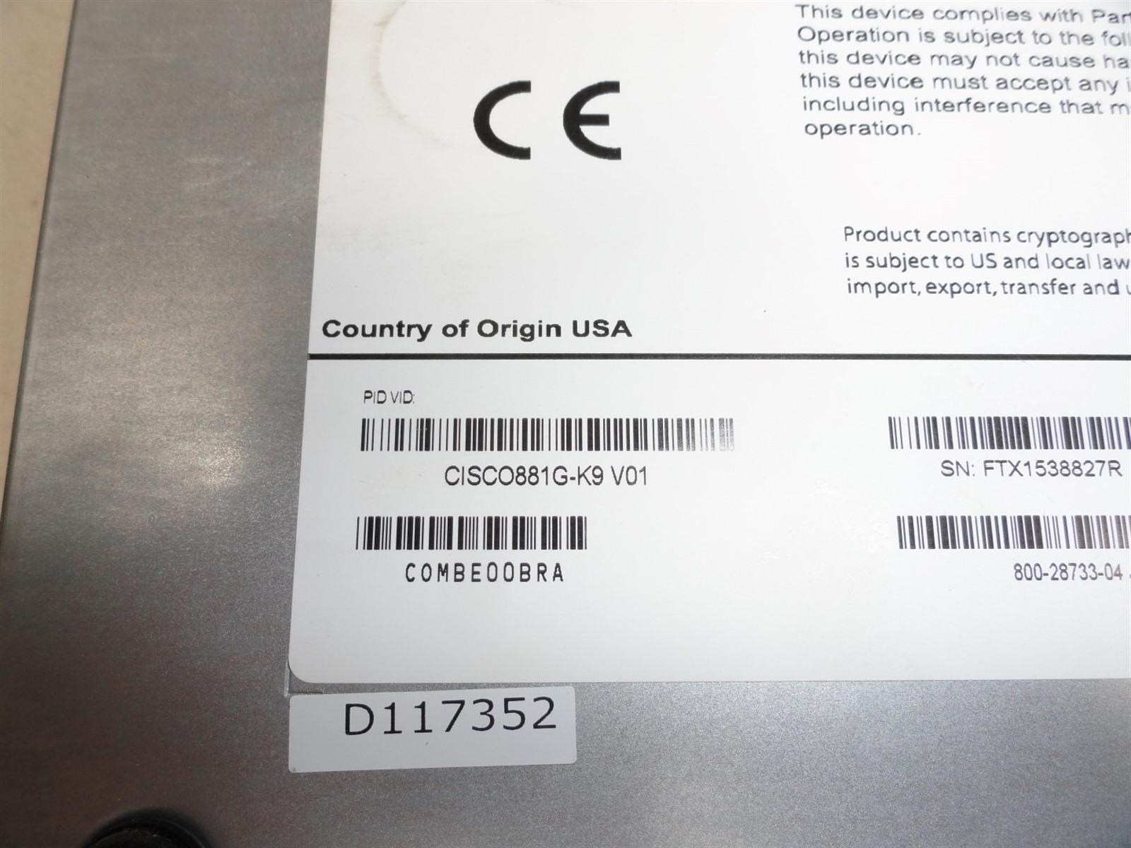Details about Cisco 881G CISCO881G-K9 3G Integrated Services Router  w/Advipservices License