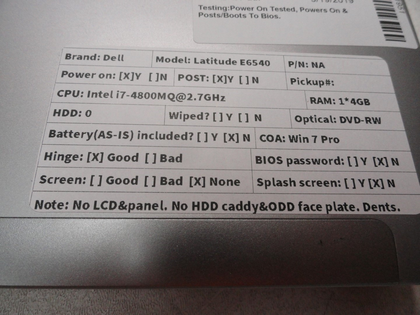 Details about Dell Latitude E6540 Laptop Core i7-4800MQ-2 7GHz 4GB 0HD  Boots | NO LCD Screen