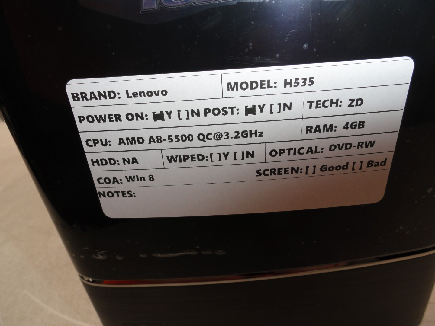 Details about Lenovo H535 Tower PC AMD A8-5500 QC 3 2GHz 4GB 0HD Boots with  DVD-RW